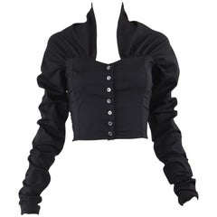 Dolce & Gabbana Vintage Ultra Long Sleeves Black Silk Bodice Top, 1990s