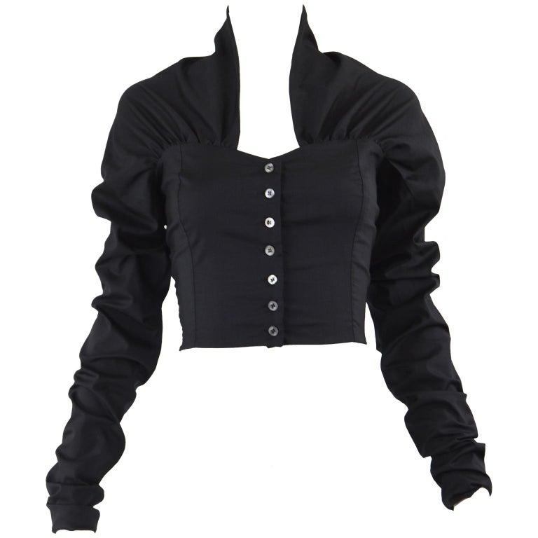 Dolce & Gabbana Vintage Ultra Long Sleeves Black Silk Bodice Top, 1990s For Sale