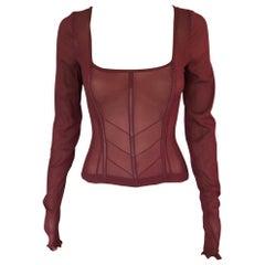 Dolce & Gabbana Vintage Unworn Sheer Silk Corset Top