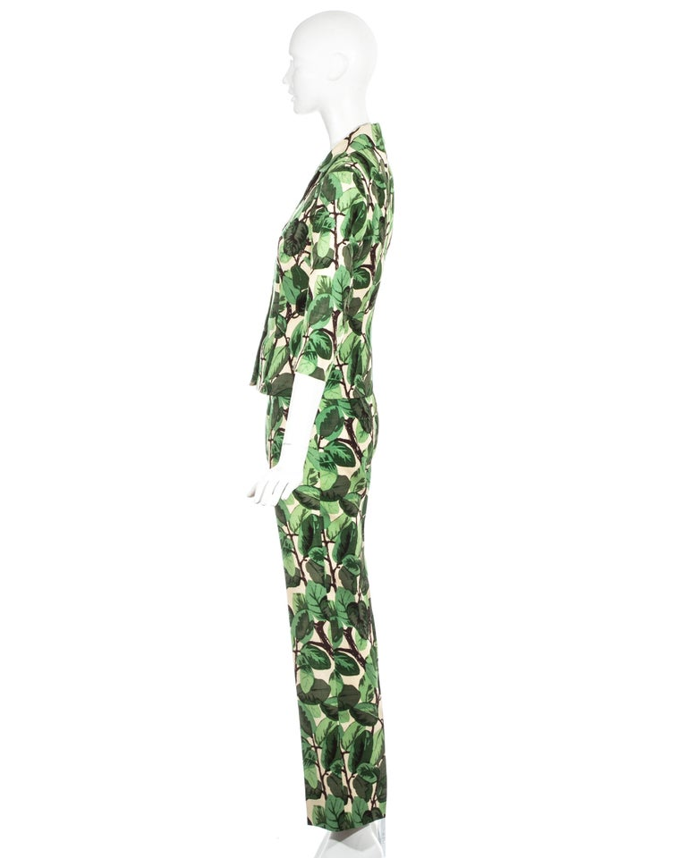 Women's Dolce & Gabbana white and green foliage print silk linen pant suit, ss 1997 For Sale