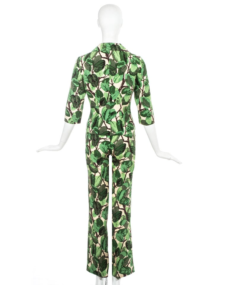 Dolce & Gabbana white and green foliage print silk linen pant suit, ss 1997 For Sale 1