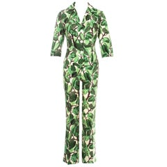 Dolce & Gabbana white and green foliage print silk linen pant suit, ss 1997