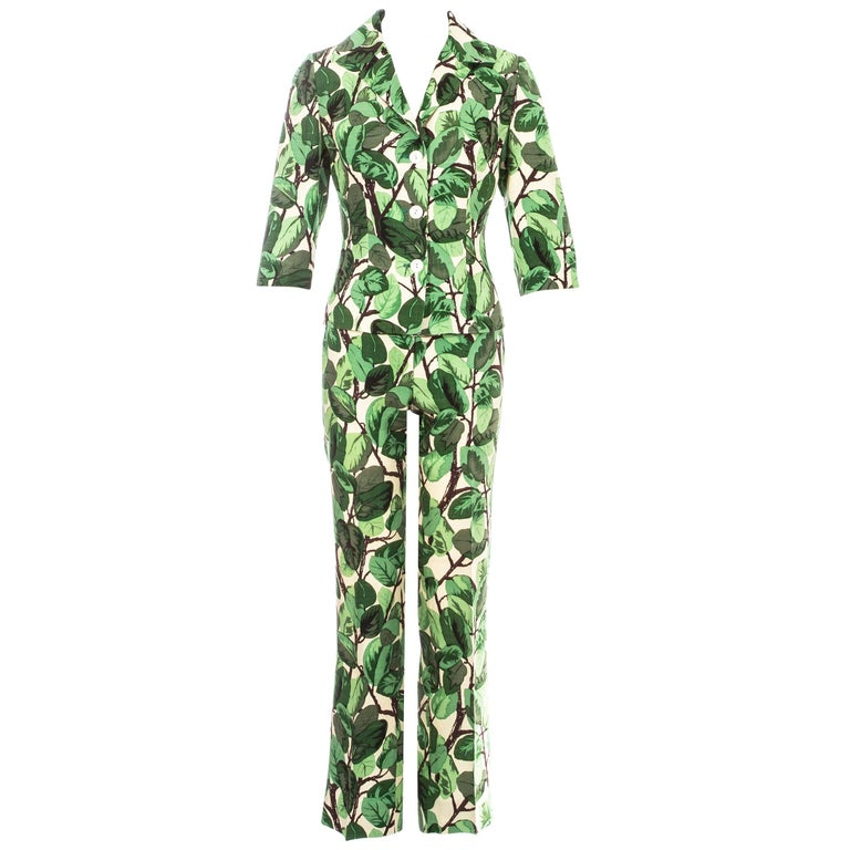 Dolce & Gabbana white and green foliage print silk linen pant suit, ss 1997 For Sale