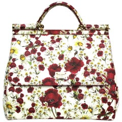 Dolce & Gabbana White and Red Leather Sicily Bag