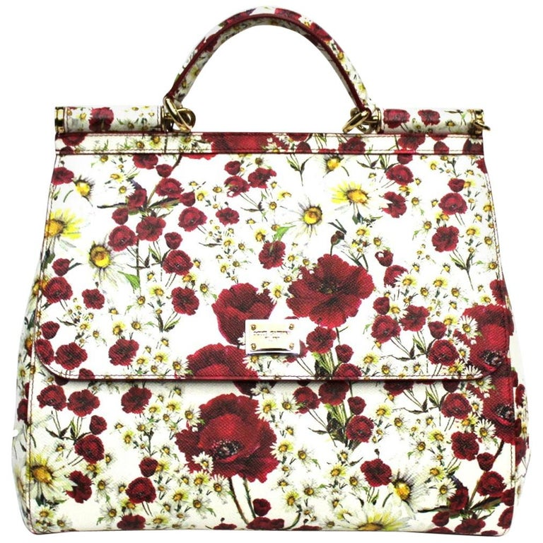 Dolce & Gabbana White and Red Leather Sicily Bag For Sale