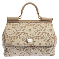 Dolce & Gabbana White/Beige Lace and Leather Large Miss Sicily Top Handle Bag