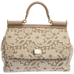 Dolce & Gabbana White/Beige Lace and Leather Miss Sicily Top Handle Bag