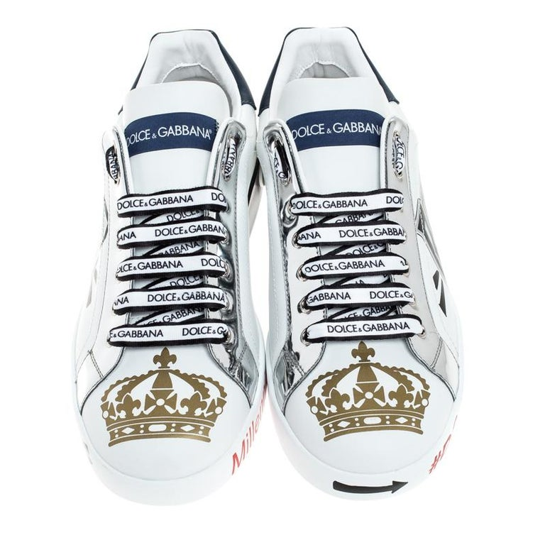 Fashioned to take your style a notch higher, these low top sneakers from Dolce&Gabbana are absolutely worth the splurge! They've been crafted from leather and styled with laces on the vamps and signature prints all over.  Includes: Original Dustbag,