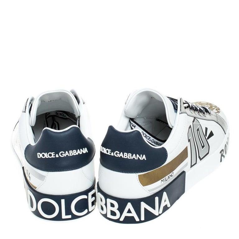 Gray Dolce & Gabbana White/Blue Leather Portofino Royal 10 Sneakers Size 40 For Sale