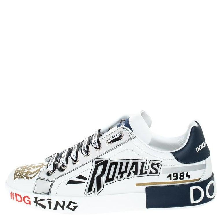 Dolce & Gabbana White/Blue Leather Portofino Royal 10 Sneakers Size 40 For Sale 1