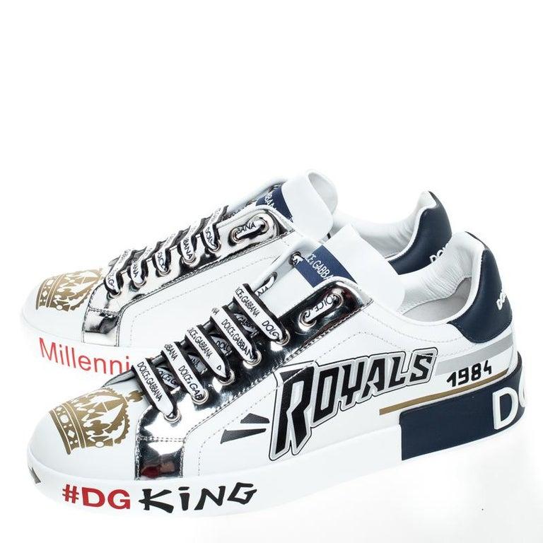 Dolce & Gabbana White/Blue Leather Portofino Royal 10 Sneakers Size 40 For Sale 2