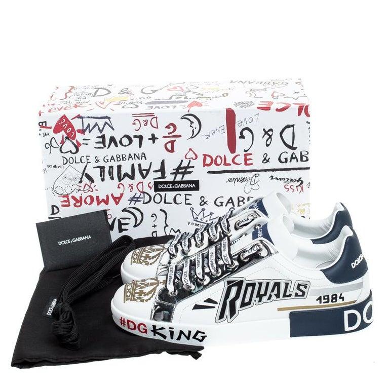 Dolce & Gabbana White/Blue Leather Portofino Royal 10 Sneakers Size 40 For Sale 3