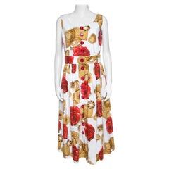 Dolce & Gabbana White Cookie And Floral Print Cotton Sleeveless Dress L