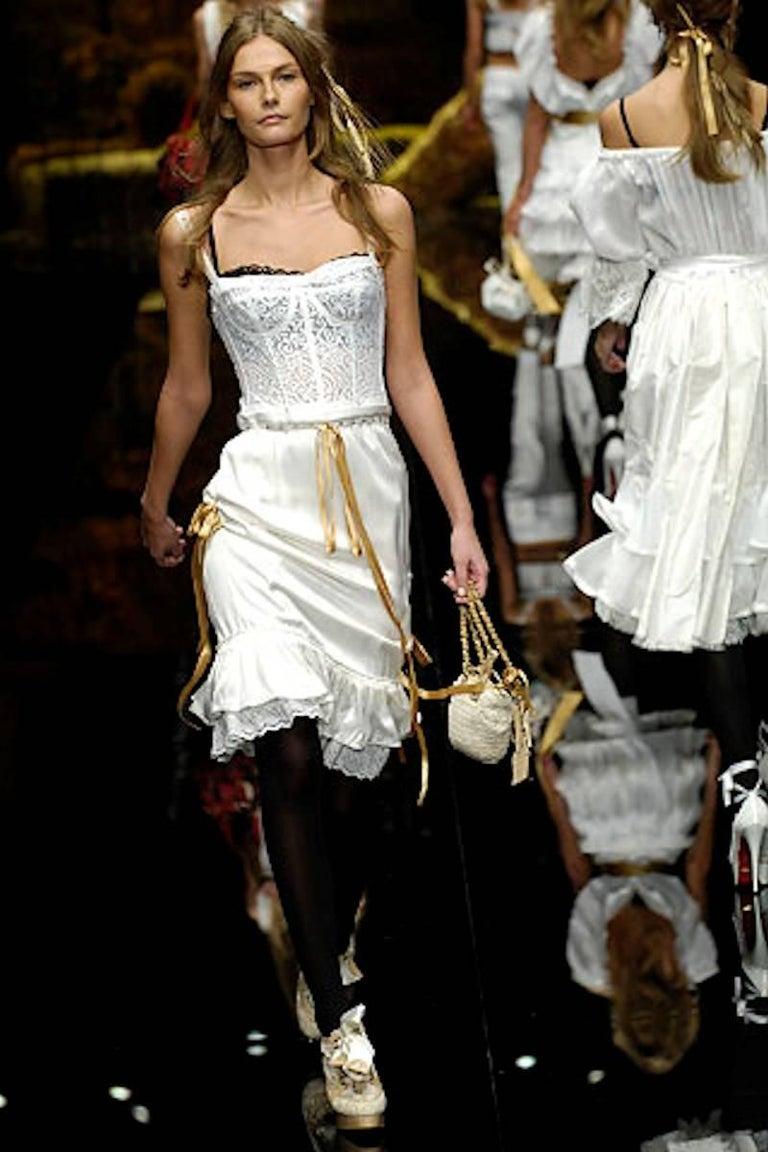 Dolce & Gabbana White Corset Lace Silk Eyelet Dress For Sale 1
