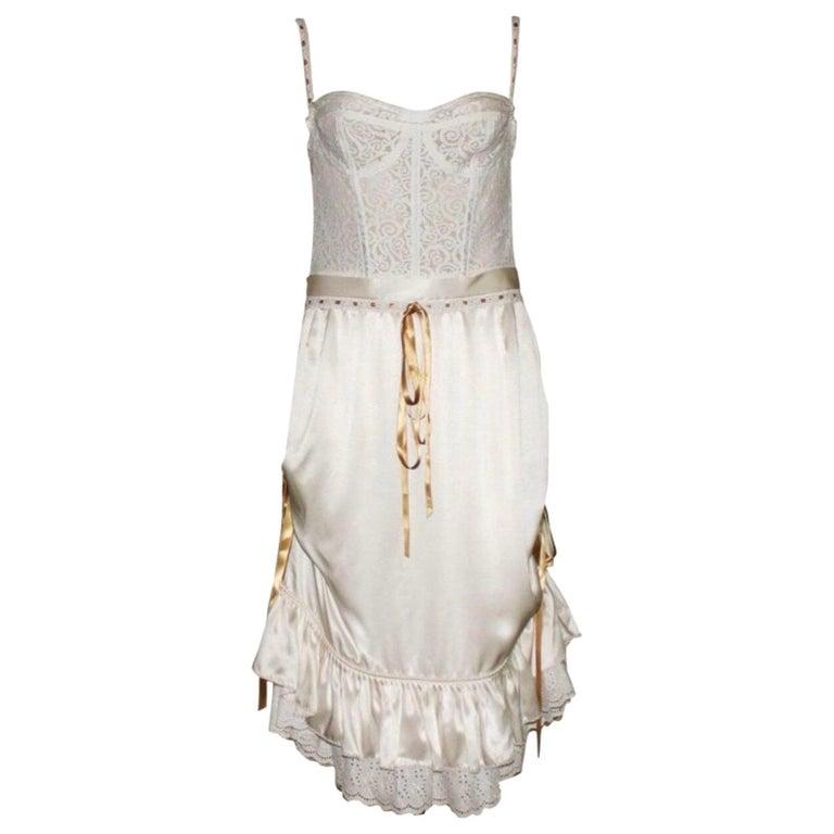 Dolce & Gabbana White Corset Lace Silk Eyelet Dress For Sale