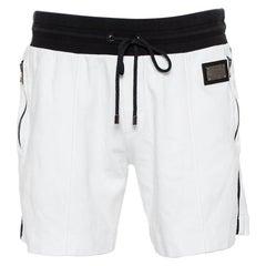Dolce & Gabbana White Cotton Contrast Waist Detail Shorts XL