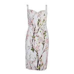 DOLCE & GABBANA white cotton FLORAL Sleeveless BUSTIER Dress S