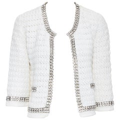 DOLCE GABBANA white crochet knit crystal jewel embellished cropped cardigan IT40