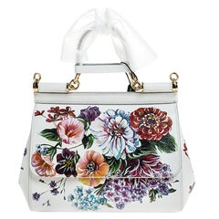 Dolce & Gabbana White Floral Printed Leather Small Miss Sicily Top Handle Bag