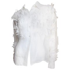 Dolce & Gabbana White Flower Applique Silk Shirt