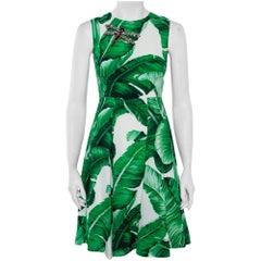 Dolce & Gabbana White & Green Banana Leaf Print Libellula Detail Short Dress XS
