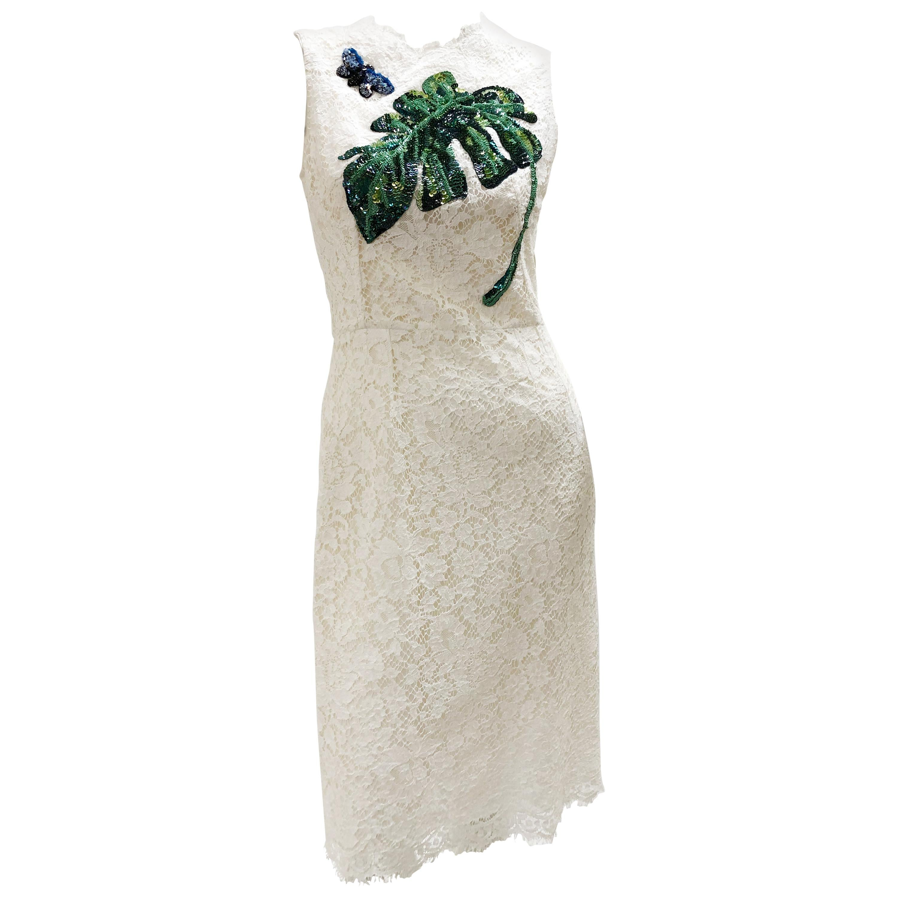 Dolce & Gabbana White Lace Sheath Dress W/ Sequin Philodendron Leaf