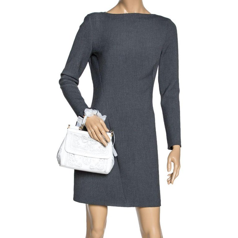 Dolce & Gabbana White Laser-Engraved Leather Small Miss Sicily Bag In New Condition In Dubai, Al Qouz 2