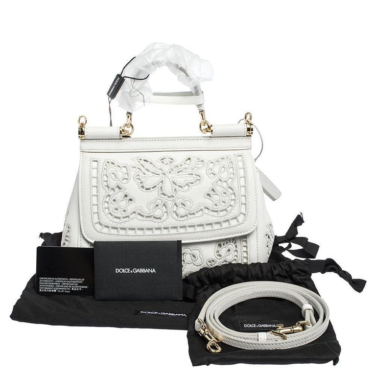 Women's Dolce & Gabbana White Laser-Engraved Leather Small Miss Sicily Bag