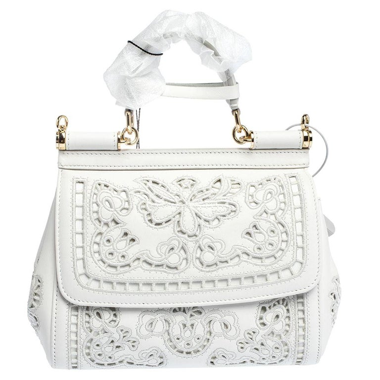 Dolce & Gabbana White Laser-Engraved Leather Small Miss Sicily Bag