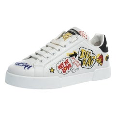 Dolce & Gabbana White Leather Dubai Graffiti Print Low-Top Sneakers Size 39
