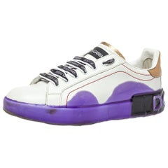 Dolce & Gabbana White Leather Portofino Melt Sneakers Size 39