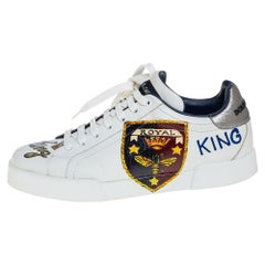 Dolce & Gabbana White Leather Portofino Royal Sneakers Size 42