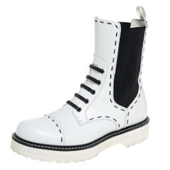 Dolce & Gabbana White Leather Utility Boots Size 39