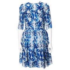 Dolce & Gabbana White Majolica Printed Silk Flared Mini Dress M