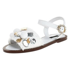 Dolce & Gabbana White Patent Leather And Crystal Embellished Flat Sandal Size 37