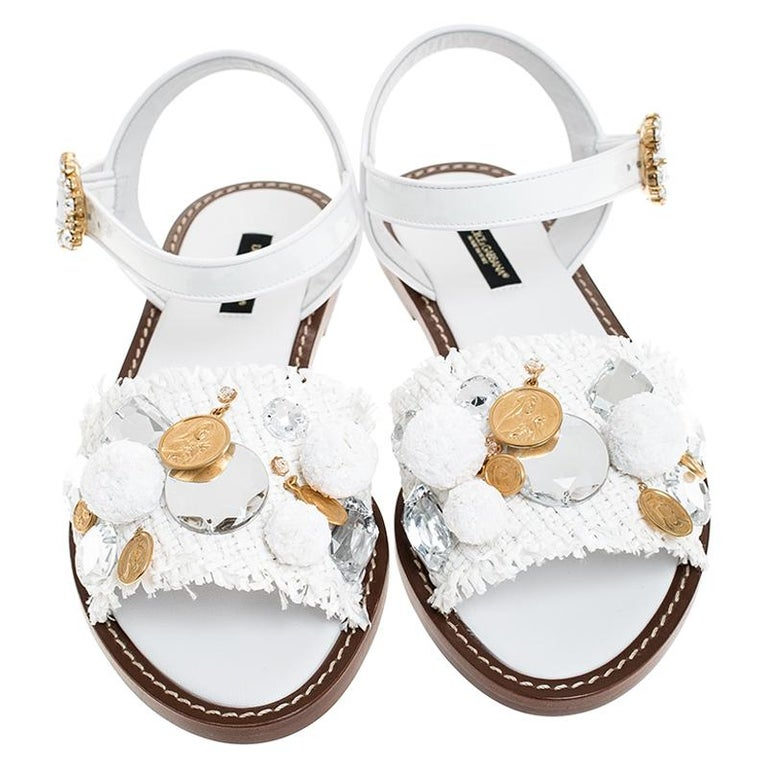 Gray Dolce & Gabbana White Patent Leather & Crystal Embellished Flat Sandal Size 37.5 For Sale