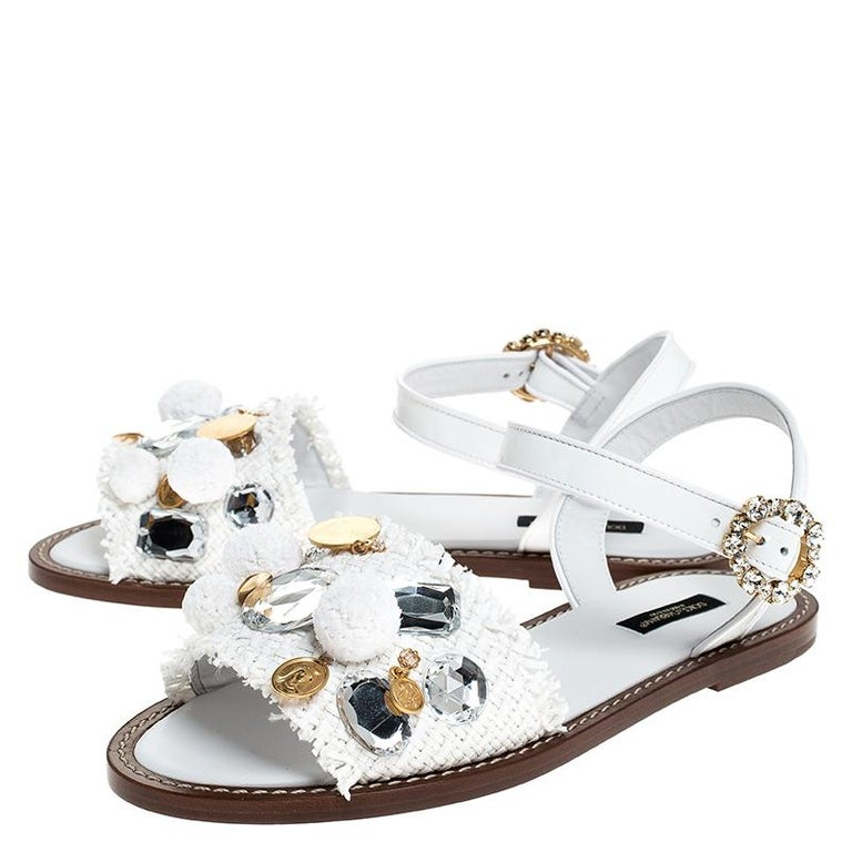 Women's Dolce & Gabbana White Patent Leather & Crystal Embellished Flat Sandal Size 37.5 For Sale