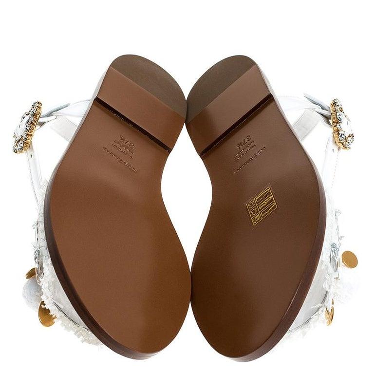 Dolce & Gabbana White Patent Leather & Crystal Embellished Flat Sandal Size 37.5 For Sale 2