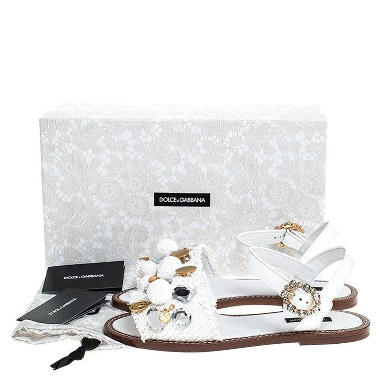 Dolce & Gabbana White Patent Leather & Crystal Embellished Flat Sandal Size 37.5 For Sale 3