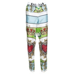 Dolce & Gabbana White Sacred Heart Print Silk Tapered Trousers S