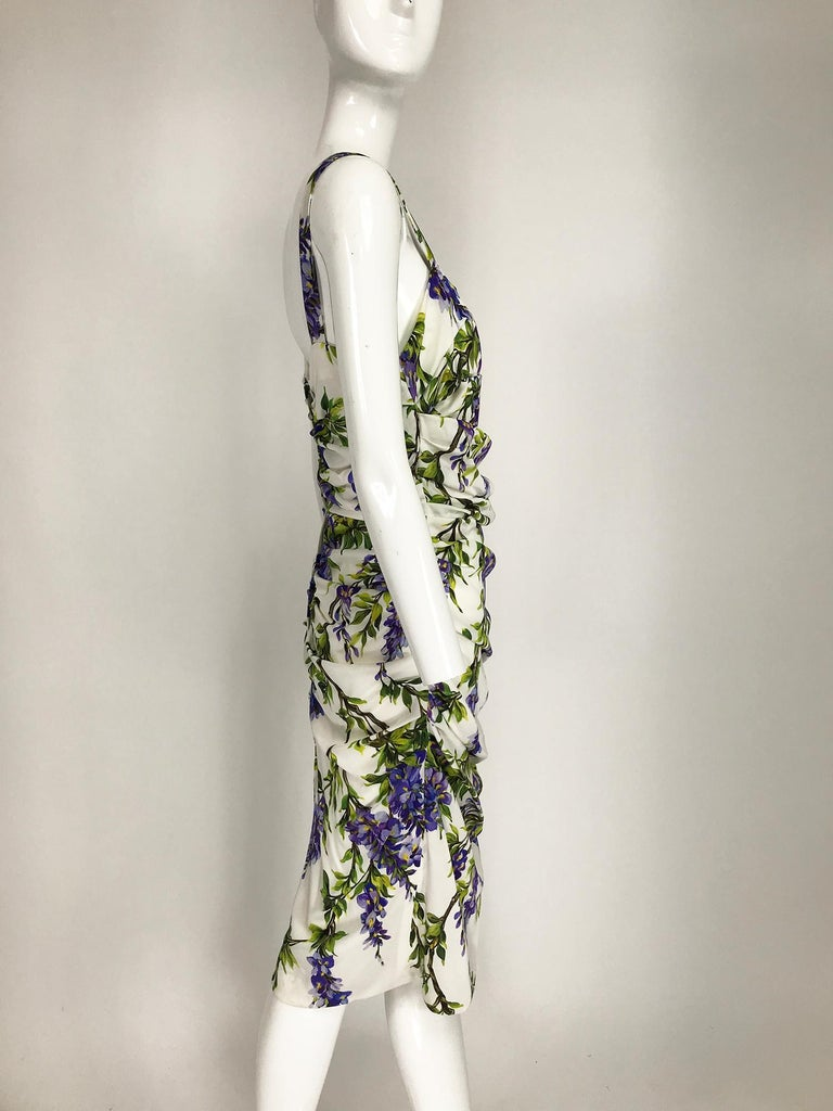 Purple Dolce & Gabbana Wisteria Print Side Ruched Dress in White & Lavender For Sale