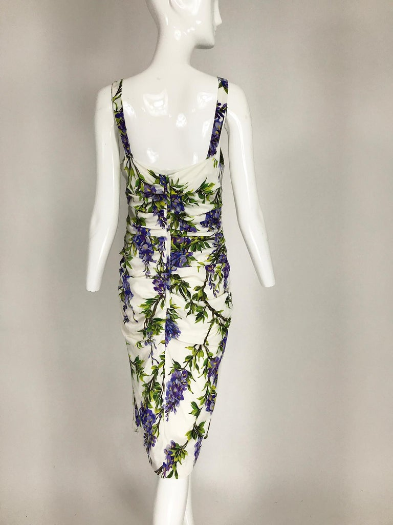 Women's Dolce & Gabbana Wisteria Print Side Ruched Dress in White & Lavender For Sale