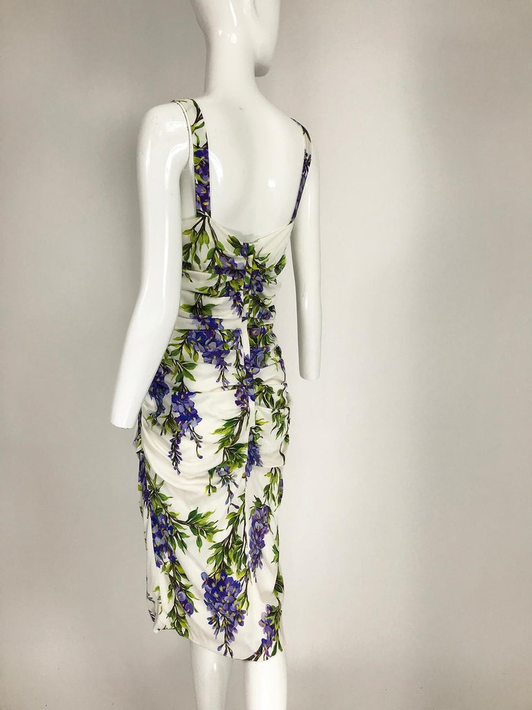 Dolce & Gabbana Wisteria Print Side Ruched Dress in White & Lavender For Sale 1