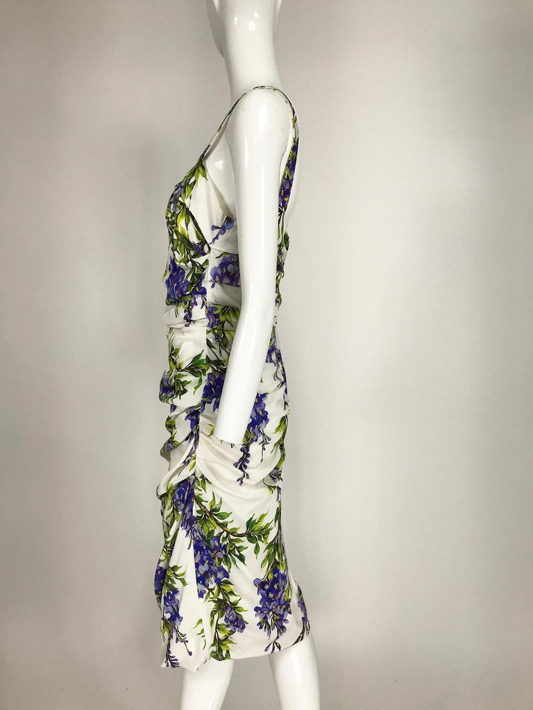 Dolce & Gabbana Wisteria Print Side Ruched Dress in White & Lavender For Sale 2
