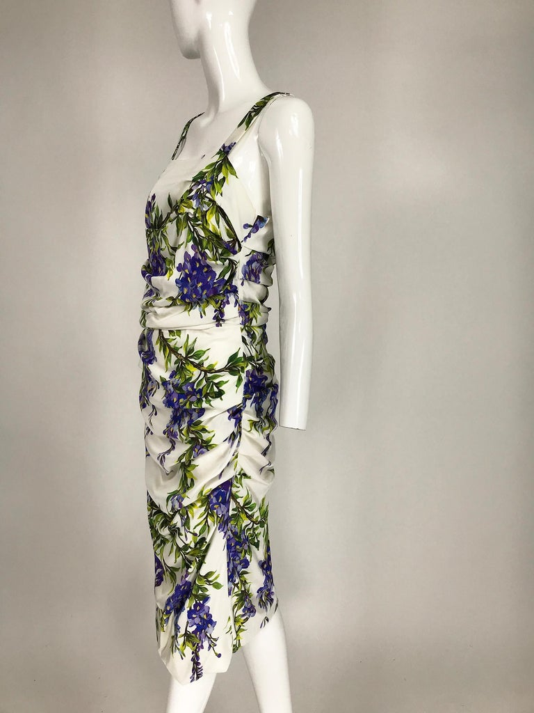 Dolce & Gabbana Wisteria Print Side Ruched Dress in White & Lavender For Sale 3