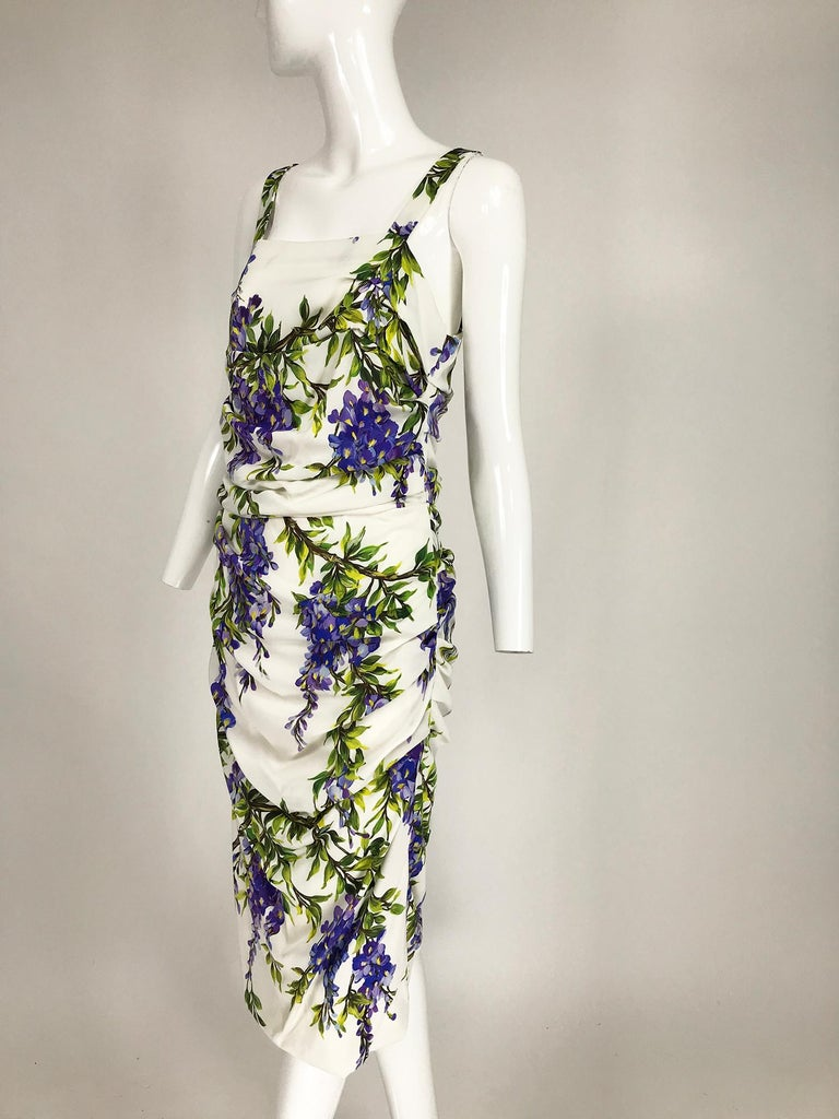 Dolce & Gabbana Wisteria Print Side Ruched Dress in White & Lavender For Sale 4