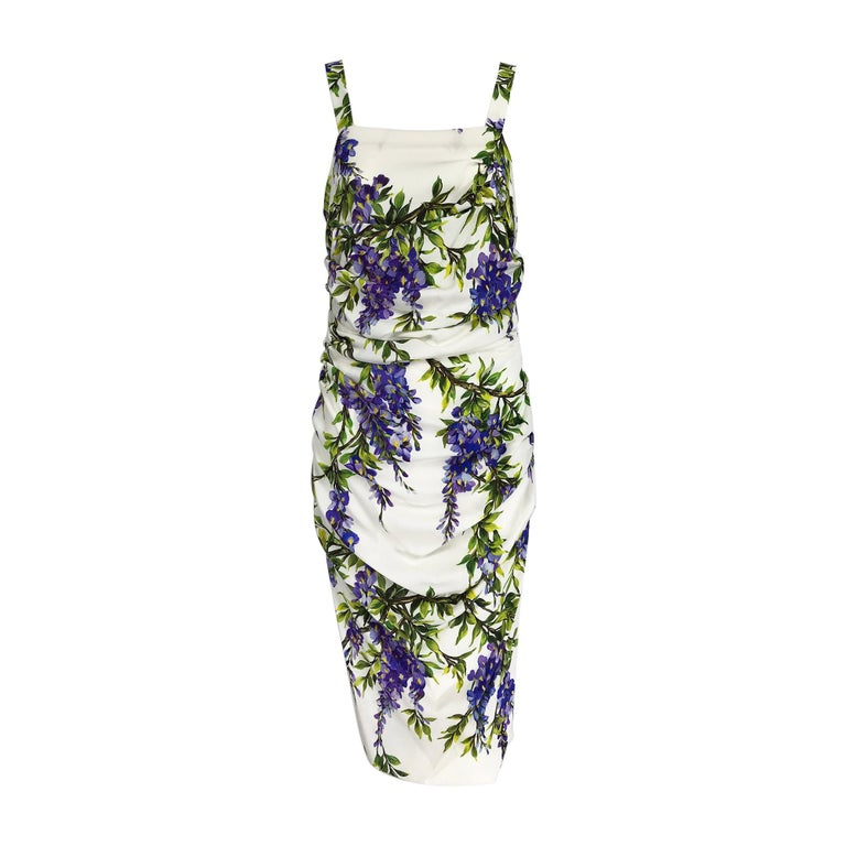 Dolce & Gabbana Wisteria Print Side Ruched Dress in White & Lavender For Sale