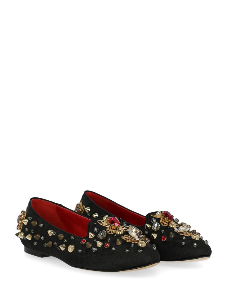 Ballet flats, cotton, solid color, slip-on style, jacquard, multi-tonal hardware, pointed toe, low and flat heel, crystal embellishment, rockstud embellishment. Product Condition: Like New With Tag. . Dustbag: Yes. Box: Yes