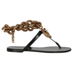 Dolce & Gabbana Woman Flip-flops Black Leather IT 35