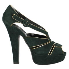 Dolce & Gabbana Woman Sandals Green Leather IT 38